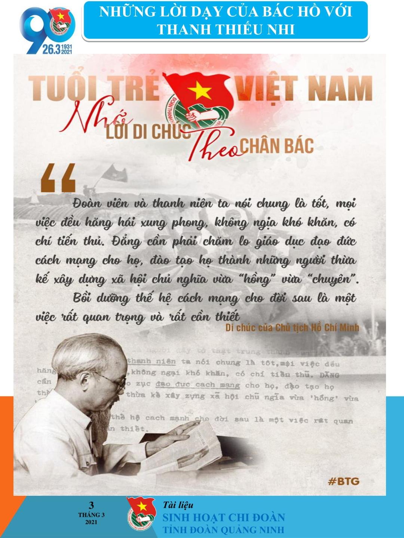 Tài liệu sinh hoạt Chi đoàn - Chào mừng 90 năm ngày thành lập Đoàn TNCS Hồ Chí Minh (26/3/1931 - 26/3/2021)